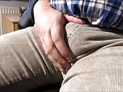 135 Stroking Daddy's massive Bulge in beige Corduroys