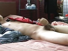 Horny boy shows himself at the bed