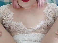 Sissyboy femboy finger fisted by chubby daddy
