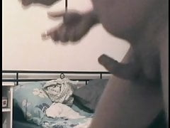 Jerking off at the ex-girlfriend in the bedroom.