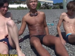Asian twink dudes are masturbating each other off