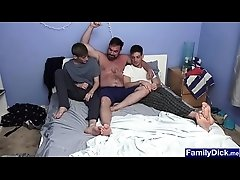 Stepdad caught stepsons while they are watching porn