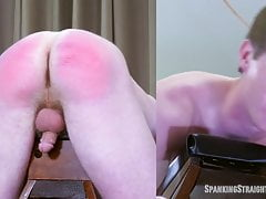 19! Straight Boy Tied to a Spanking Bench, Spanked and Caned