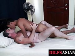 Barebacked Asian twink blows older guys cock