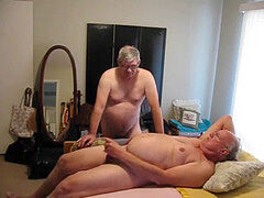 2 aged dudes Playing in bed