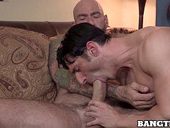 shaved macho rewards his colleague by testicles deep barebacking