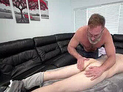 father calms Son's sore Muscles