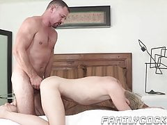 Hunk catches twink jerking off to stepdad and barebacks him