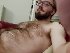 Hairy boy is allowed to jerk off and cum