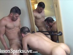 'JasonSparksLive - Muscle stud boyfriends suck cock before wild banging'