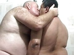 Chubby older guys fucking in the shower