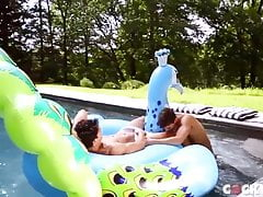 Hot Twink Studs Fuck on a Pool Toy