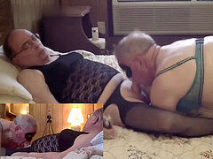 Mature Crossdresser blowage completes in a sloppy snowball kiss