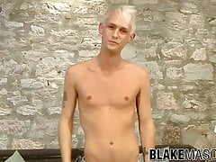 Tattooed twink Theo stroking hard big dick solo masturbation