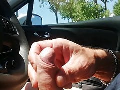 good masturbation in the car and cum