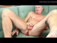 Same smoothly-shaven daddy jerking his ginormous dick & dildo up his ass
