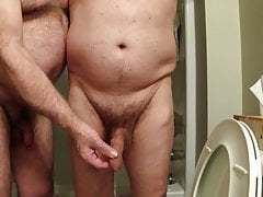 Helping hand while pissing