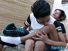 Foot worship action takes place before some anal with twinks