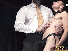 BoyForSale - strung up fur covered muscle dad fucks tiny young sub boy bareback