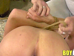 twink Casper Ellis roped up before nutting from anal torment