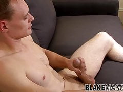 Hung British jock strips and solo jerks off after interview