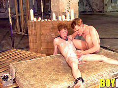 youthfull ginger-haired youngster wax tormented and cock stroked by dom
