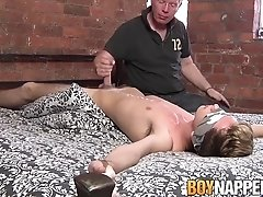 Twink punished by old master with wax and sloppy handjob