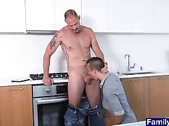 Old Stepdad Films His Teen Stepson Sucking His Big Cock