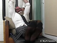 Buff gay dude restrained to have his feet erotically teased
